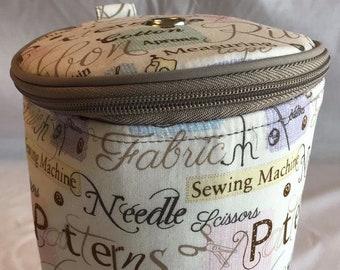 Cream Sewing Notions Pattern Yarn Holder Knitting Storage Ball of Wool Bag