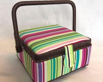 Luxury Small Sewing Basket Green Pink Purple Stripe Design - Craft Box Storage Case Gift & Small sewing box | Etsy