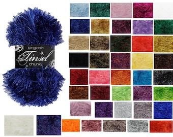 King Cole Tinsel Chunky Yarn / Wool 50g Balls - All Colours - Christmas Crochet Knitting Bulky