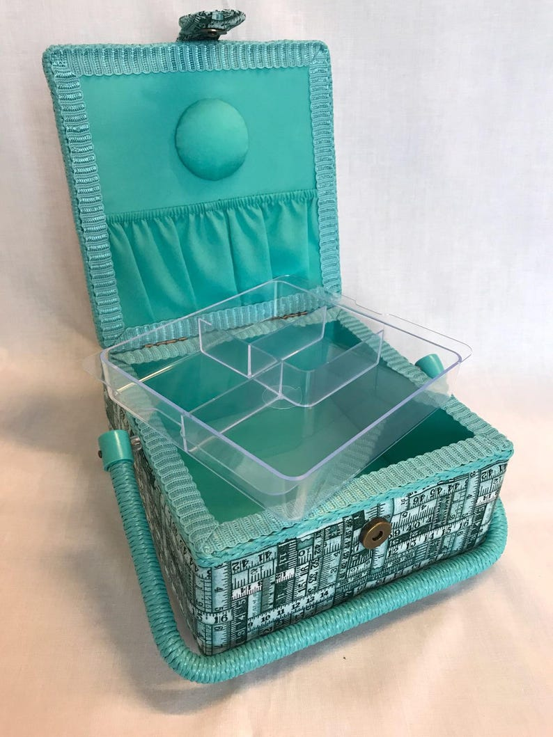 Luxury Small Sewing Basket Blue Red Sewing Design Craft Box Storage Case Gift