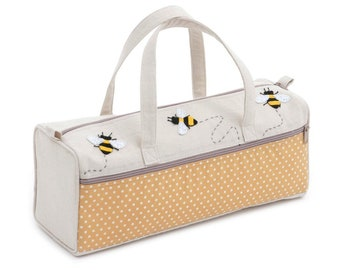 Premium Knitting Bag By Hobby Gift - Bees - Applique Fabric Craft Bag Storage