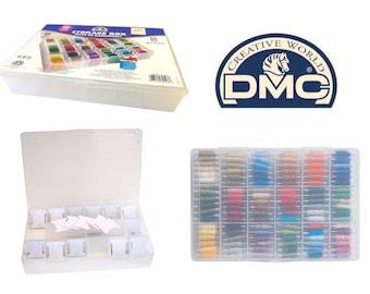 DMC Storage Box for Floss/Embroidery Thread Bobbins+ 50 Free Bobbins - Holds 108 Skeins