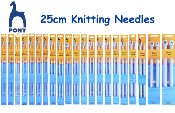 P32663 PONY CLASSIC SINGLE POINT KNITTING NEEDLES Size IN PAIRS 6mm x 30cm