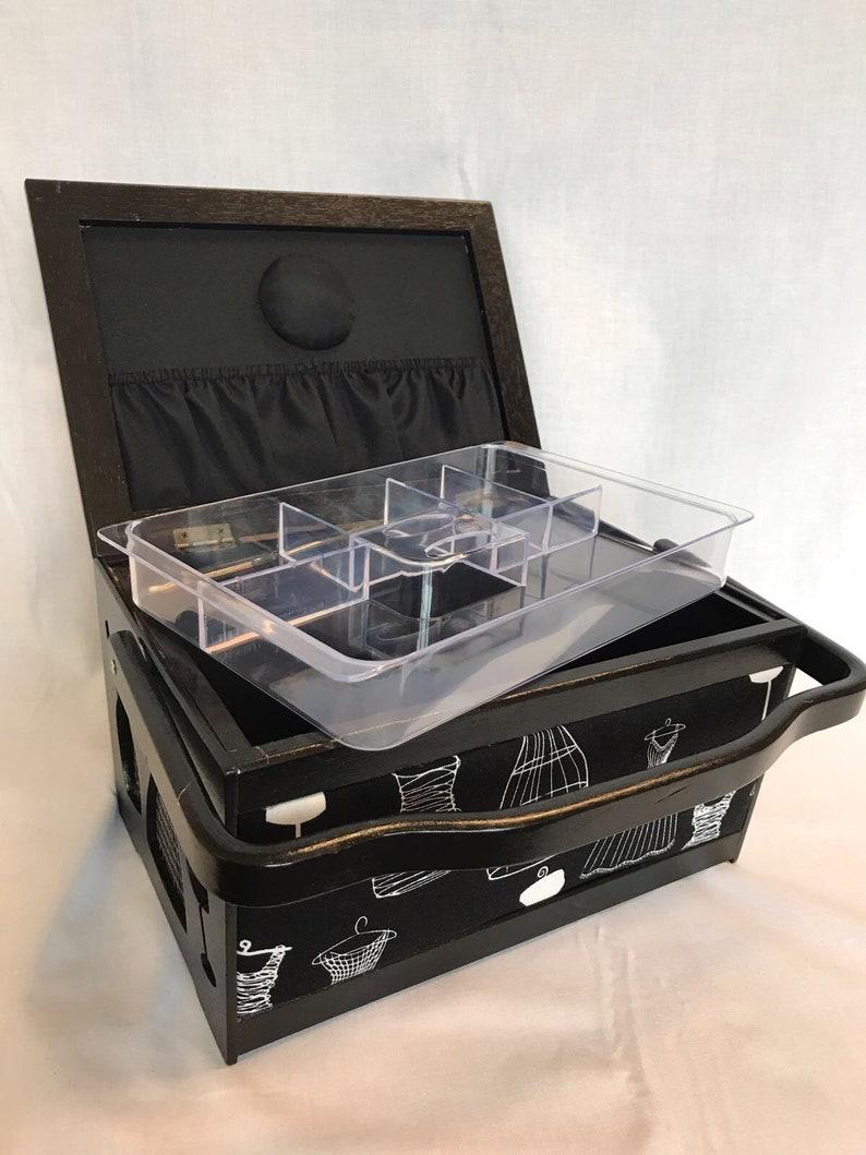 Craft Storage Gift Luxury Sewing Basket Wood Frame Black//White Dressmakers