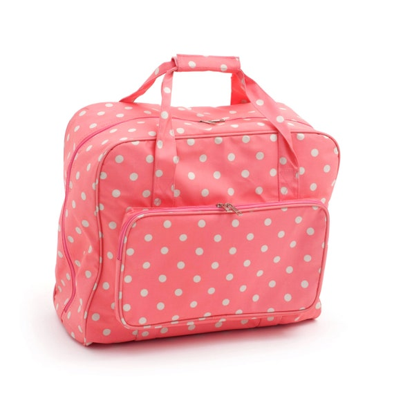 HobbyGift Sewing Machine Bag Red Spot Polka Dot Glossy PVC Storage Crafts