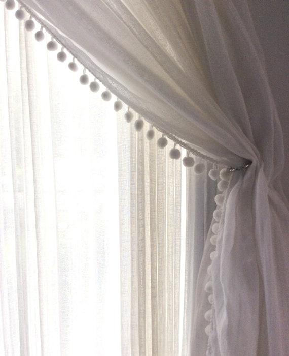 Linen Pom pom curtain 52\'\' - Bedroom curtain - White / ivory curtain - Pod  pocket panels - Available colors of pom pom