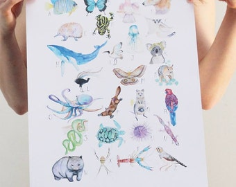 Australian Animal Alphabet A3 print by Hannah WETZLER