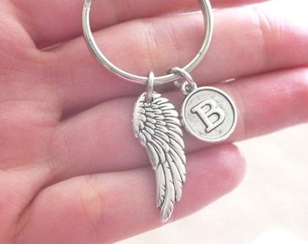 Angel Wing Keychain, Wing Key chain, Memorial Gifts, Personalized Angel Wing Key chain, Letter, Custom, Memorial Gifts Men, Sympathy Gifts