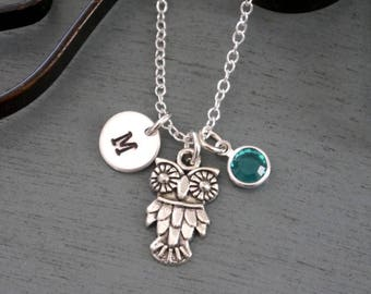 Owl Necklace, Personalized Owl Necklace, Silver Owl Necklace, Initial Necklace, Owl Jewelry, Owl Gifts, Cute Owl Necklace, Custom