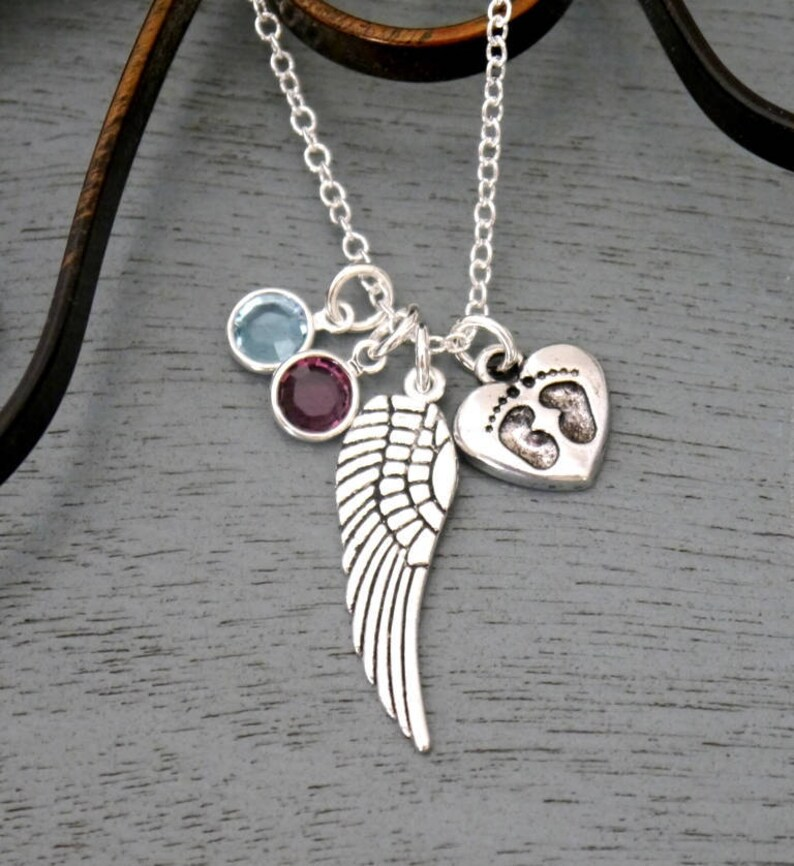 1 2 3 Birthstones Necklace Miscarriages Necklace Miscarriage Gift Miscarriage Heart Necklace Angel Wing Baby Feet Necklace Custom