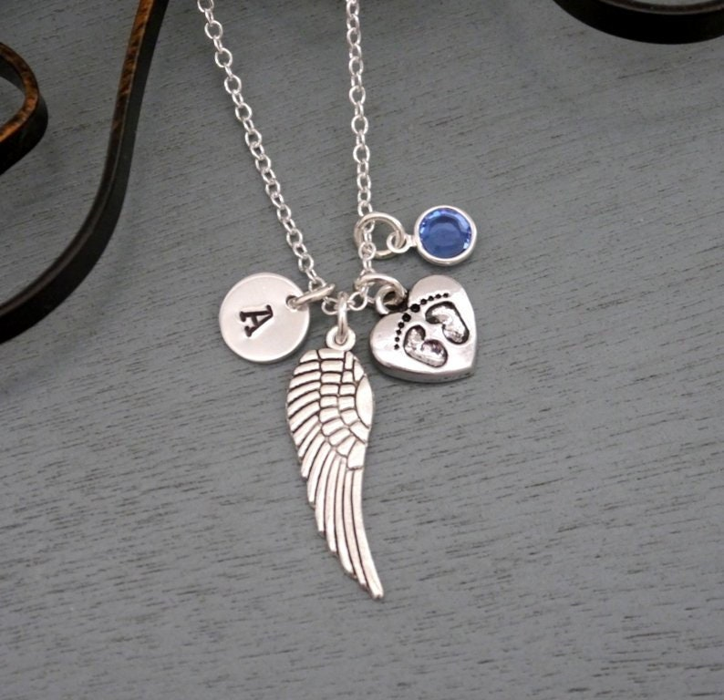 Baby Memorial Necklace Personalized Angel Wing Necklace