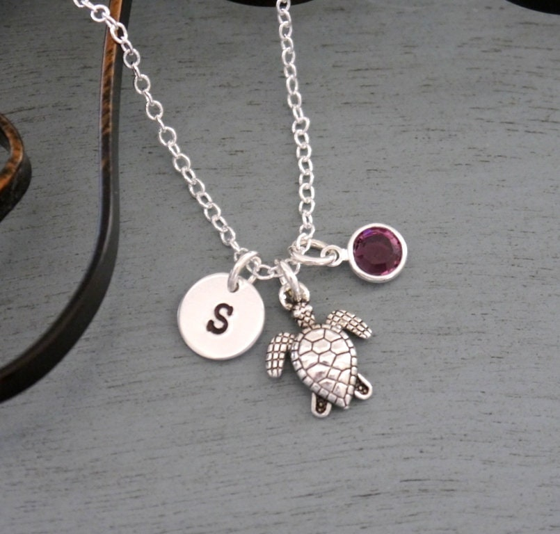 Turtle Necklace-Initial Necklace-Personalized Jewelry