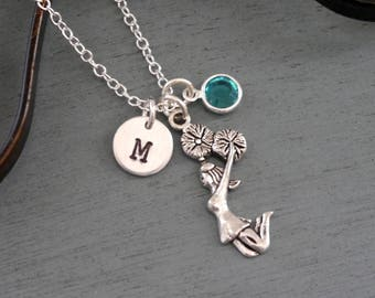 Cheerleader Necklace, Personalized Cheerleader Necklace, Silver Cheerleader Necklace, Initial Necklace, Cheer Gifts, Cheer Jewelry, Custom