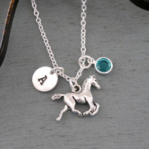 Personalized Horse Rider Jumper Bracelet Necklace Keychain with Horse and Initial Charms