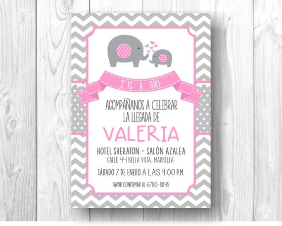 Invitacion Digital De Elefantes Para Baby Shower Etsy