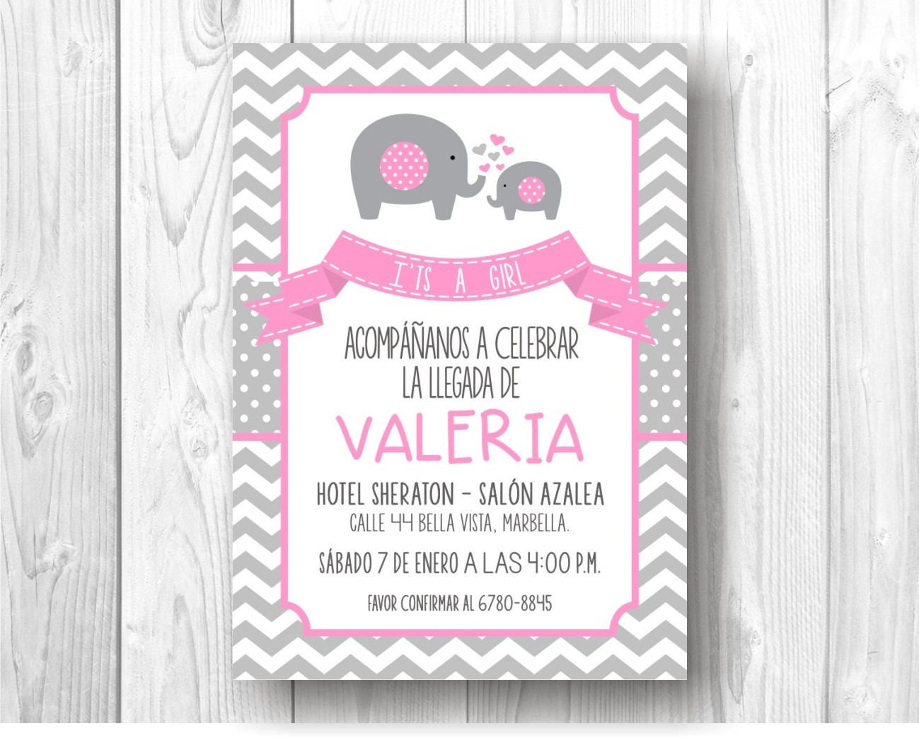 Invitación Digital de Elefantes para Baby Shower | Etsy