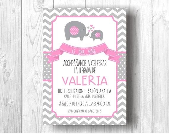 Invitacion Digital De Elefantes Para Baby Shower Etsy