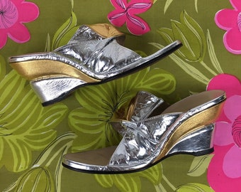 48239a378384 Vintage 1970s Silver Gold Wedges Studio 54 Shoes 8