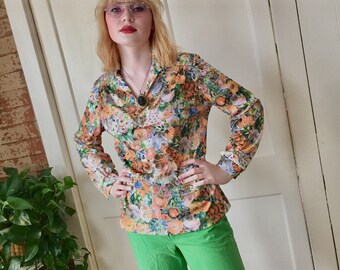 136b601bfaa Vintage 70s Floral Blouse Top Long Sleeve
