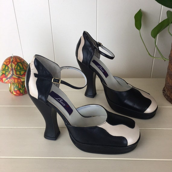 Vintage 90s Leather Cow Print Heels Made in Italy