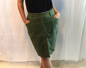Vintage 90's Olive Green Linen Button Down Skirt