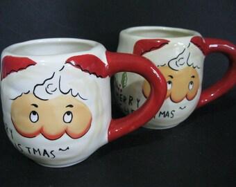 Vintage Santa Mugs Set of Two, Hand Painted Mugs, Christmas Mugs
