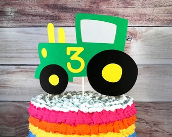 Tractor Cake Topper Smash Farm Party Birthday Green