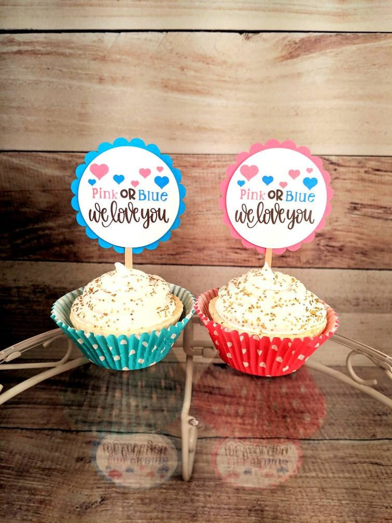 Pink Or Blue We Love You Cupcake Toppers Baby Shower Topper Etsy