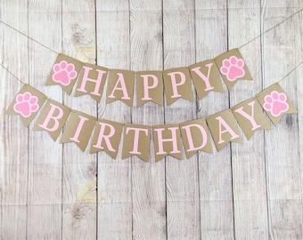 Paw Print Happy Birthday Banner, Dog Birthday Banner, Puppy Birthday Banner, Dog Birthday, Paw Print Banner, Pawty Banner, Paw Print Party
