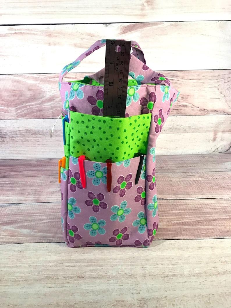 Bible Tote Bag Flower Tote Bag Tote Bag Floral Tote Bag Library Tote Bag Organizer Bag Multiple Pockets Bag Purple Flower Tote Bag