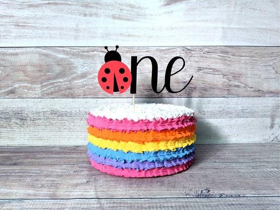 Pleasing Ladybug Cake Topper Ladybug 1St Birthday Cake Topper One Etsy Birthday Cards Printable Giouspongecafe Filternl