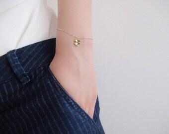 Four leaf clover bracelet, lucky clover bracelet, gold bracelet, dainty bracelet, bridesmaid gift
