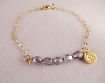 Gemstone Bracelet, personalized bracelet, hand stamped disc bracelet