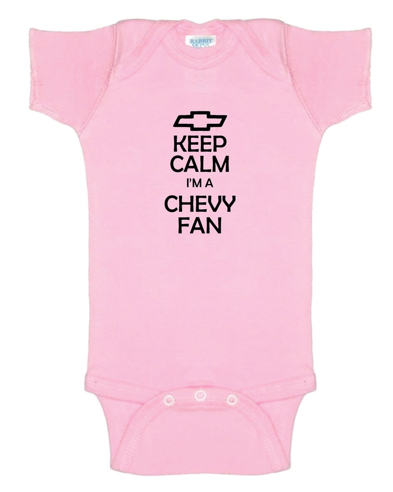 Cute Baby Bodysuit for your future Chevy Enthusiast Keep Calm I/'m A Chevy Fan