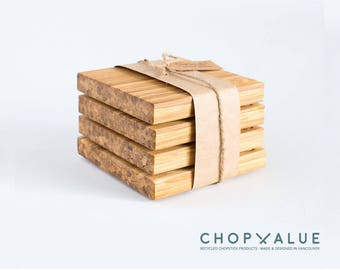 Bamboo Coaster Set 4x - Made from Recycled Bamboo Chopsticks - by ChopValue - Gift for Him & Her | Canadian Handmade Product