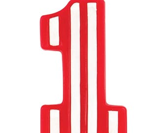 Number One Circus Candle/ Red and White Striped Candle/ First Birthday Candle/ First Birthday Circus Candle