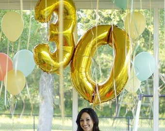 Giant 34 Gold Balloon Numbers Number Balloons XL Birthday Party