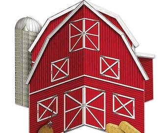 3-D Red Barn Table Centerpiece/ Farm Birthday Party Table Centerpiece/ Barnyard Party Centerpiece/ Farm Party Decor