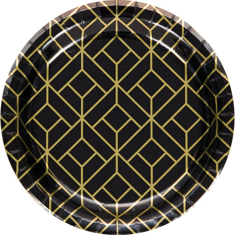 Retro Party Plates Black and Gold 1920/'s Party Plates- Roaring Twenties Party 1920/'s Decorations Geometric Plates 20/'s Party Supplies