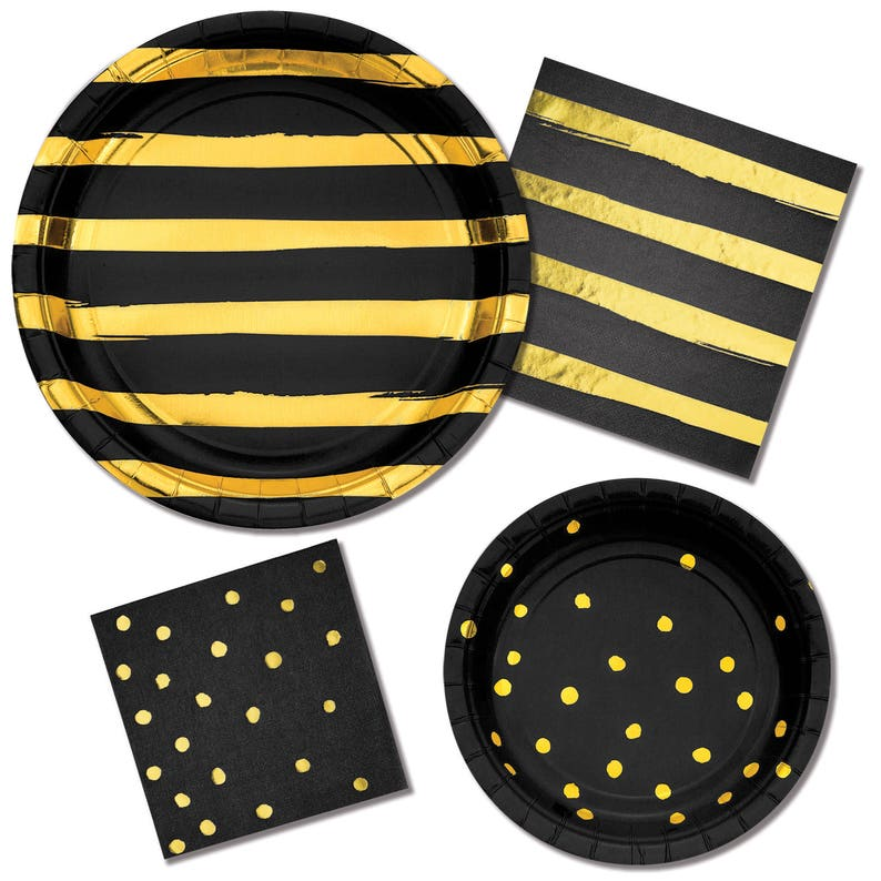Black and Gold Party Supplies Black and Gold Foil Plates Black and Gold Foil Napkins Black Party Supplies Black and Gold Party