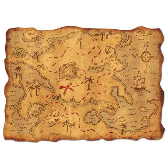 Mapa Del Tesoro Favor Mapa Del Tesoro Pirata Decoracion Etsy