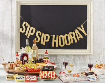 Cork Print Sip Sip Hooray Party Banner/ Wino Party Banner/ Wine Party Supplies/ Sip Sip Hooray Party Supplies