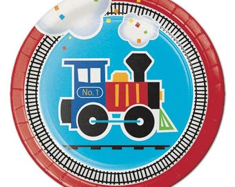 8 CT Train Small Paper Plates/ Dessert Train Birthday Party Plates/ Train Partyware/ Train Party Supplies