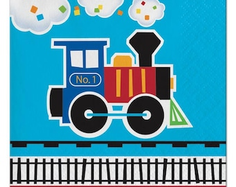 16 CT First Birthday Train Small Paper Napkins/ Train Birthday Party Napkins/ Train Partyware/ Train Party Supplies