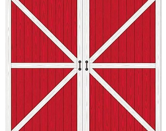 XL Red Barn Door Prop/ Western Party Back Drop/ Farm Birthday Party Photo Booth Scene/ Red Barn Scene Setter/ Farm Birthday Party Decor