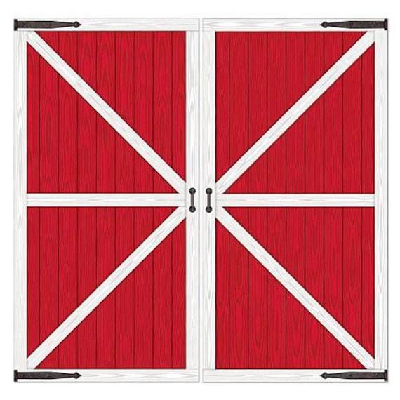 Xl Red Barn Door Prop Western Party Back Drop Farm Birthday Etsy