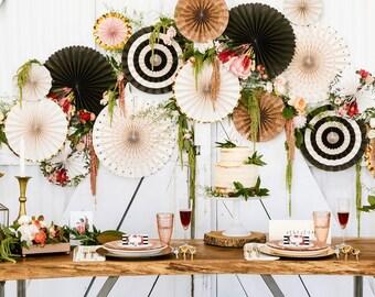 Garden Party Fan Decor Kit/ Deluxe Set Black and White Fan Decor/ Fancy Organic Hanging Paper Fans/ Fancy Wood Decorations