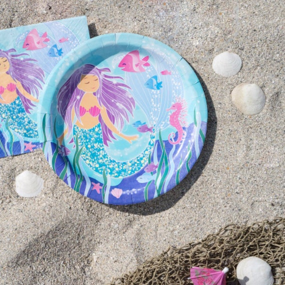 image 0 Mermaid Plates/ Purple Party Large | Etsy