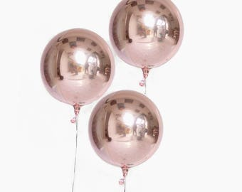 "Round Rose Gold Balloon/ 16"" Sphere Rose Gold Balloons/ Rose Gold Balloon Decor / Rose Gold Orb"