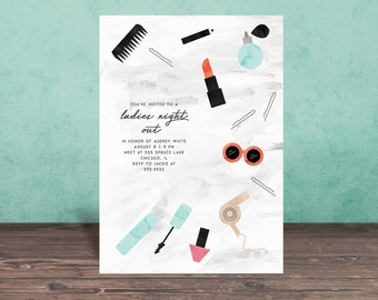 BACHELORETTE PARTY INVITATION, Ladies Night Out, bachelorette party, Makeup, Party Invitation